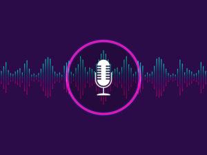 Voice Control, Recognition Voice Background. Digital Soundwave,